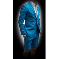 Blazer Azul Agua John Leopard Verano 2015 Casual Saco