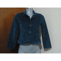 Saco Blazer Casual De Pana Azul Turquesa P/dama T/s