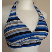 Top Bra De Bikini Azul A Rayas Tipo Halter Talla S!! Tb122
