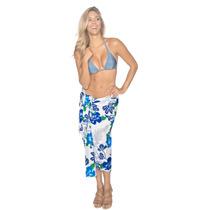 La Leela Allover Beach Floral Hawaiana Pareo Coverup Azul
