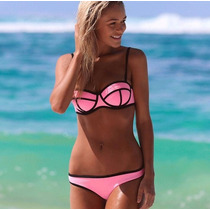 Bikini Traje De Baño Neon Push Up Verano Neopreno Playa