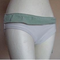 Panty De Bikini Blanco Con Borde Verde Talla Xl Tb218