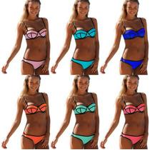 Trajes De Baño Mujer Push Up Bikinis Tipo Neopreno!!