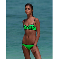 Bikini Verde Neón Talla Grande Traje De Baño Dama Push Up