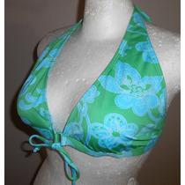 Old Navy! Lindo Top De Bikini Verde Con Flores Azules, Xl