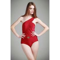 Bikini Mujer Vintage, Hermoso Traje De Baño Mujer Un Hombro