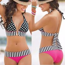 Bikini Halter Rosa Negro Lunares Rayas Fuscia Talla Chica
