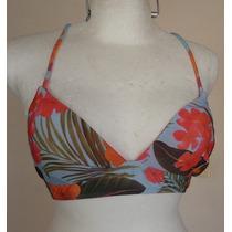 Top Bra De Bikini Halter Colores Tropicales Talla-m Tb252