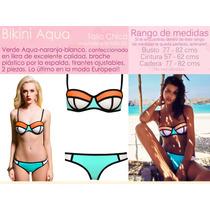 Bikini Likra Menta Naranja Blanco Talla Chica Traje De Baño
