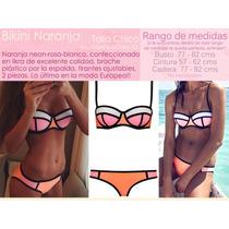 Bikini Naranja Rosa Talla Chica Traje De Baño Dama Likra Pla