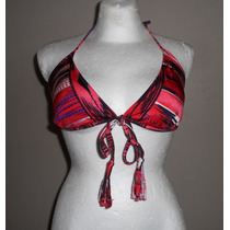 Xhilaration! Moderno Top De Bikini, Rojo Con Negro, Talla L