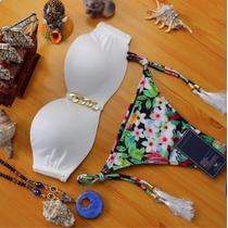 Bellisimo Bikini Floral/blanco Corte Brasileño Push Up..