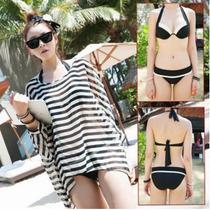 Traje De Baño Bikini Moda, Con Push Up3 Piezas Incluye Blusa