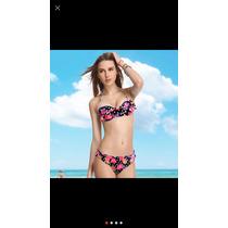 Bikini Push Up Strapless Flores Moda Importada