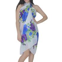 La Leela Hoja Playa Hawaiana Chiffon Sarong Coverup Púrpura