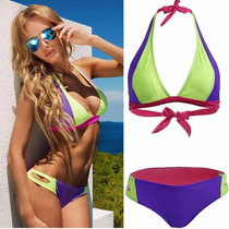 Bikini Dama Halter Neon Talla Mediana Traje De Baño Lenceria