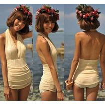 Bikini Monokini Halter Drapeado Moda Importada Asia
