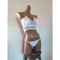 Bikini Sexy Traje De Baño Tejido A Mano, Crochet, Ganchillo