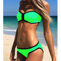 Bikini Verde Neón Talla Grande Traje De Baño Dama Neopreno V