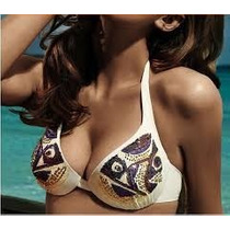 Bikini Crema Bordado Con Lentejuelas En Top Estilo Push Up.