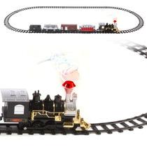 Tren Clásico Escala Luz Vapor Pista Niños Juguete Trenecito