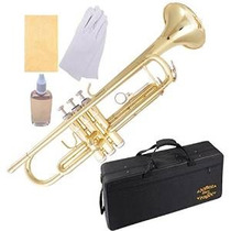 Gloria Brass Bb Trompeta Con Pro Caso + Kit Cuidado, Gold, S