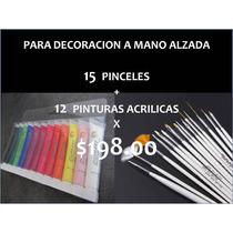 Paquete 15 Pinceles Y 12 Pinturas Acrílicas Uñas Mano Alzada