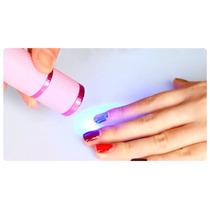 Mini Led Para Curado De Uñas Rosa + Baterias + Envio Gratis