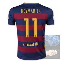 Jersey #11 Neymar Jr Barcelona Roja Azul Nike 2016 Local Pla