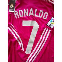 Jersey Real Madrid Rosa #7 Cristano Ronaldo Manga Larga