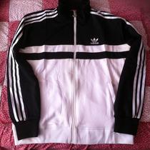 Chamarra Adidas Deportiva Blanca Con Negro