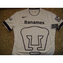 Pumas Unam Jersey Blanco Pro Talla Mediana Version Jugador