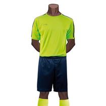 Uniforme Futbol Franjas Verdes Neon Galgo Con Short Y Medias