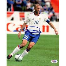 Foto Autografiada Por Zinedine Zidane Coa Psa Francia Madrid