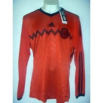 Jersey Mexico Adidas Manga Larga Rojo Talla L Playera Tri