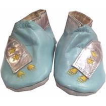 Zapato De Piel Azul Modelo: Sa802-03 Talla 0 - 3 Meses