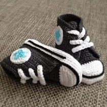 Tenis, Zapatos Tipo Conver Tejidos De 0-6 Meses
