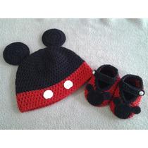 Conjunto Gorro Zapatitos Micky Minnie Mimi Tejido Crochet