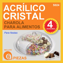 Charola De Acrilico Cristal Para Alimentos