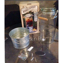 Dispensador De Agua Original Mason Jar Vidrio Con Base