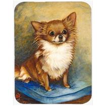 Chihuahua De Pelo Largo De Vidrio Marrón Tabla De Cortar Gr