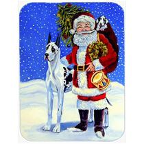 Gran Danés Arlequín Con Santa Claus De Cristal Tabla De Co