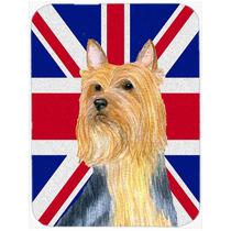 Terrier Sedoso Con Union Jack Británica Inglés Cristal De