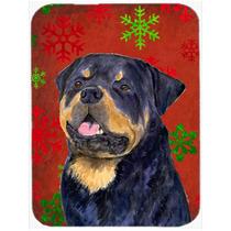 Rottweiler Rojo Y Verde De Los Copos De Nieve De Vacaciones