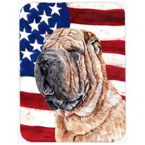 Shar Pei Con La Bandera Americana Ee.uu. Cristal Tarjeta De