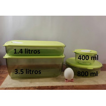 New Kit De 4 Crystalware Verdes Microondas Cocina Tupperware