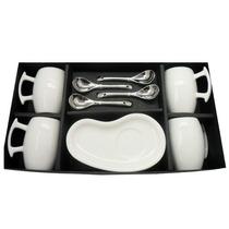 Set De 4 Tazas Con Plato Y Cuchara De Porcelana Gourmet