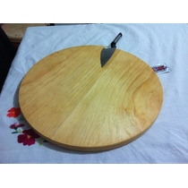 Tabla Madera Pino Circular Plato Para Pizza Familiar 44cm