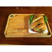Tabla Plato Madera Sandwich Carnes Hamburguesas 20 X 30