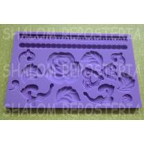 *molde Silicon Cenefas #6 Flores Hoja Perlas Isomalt Fondant
